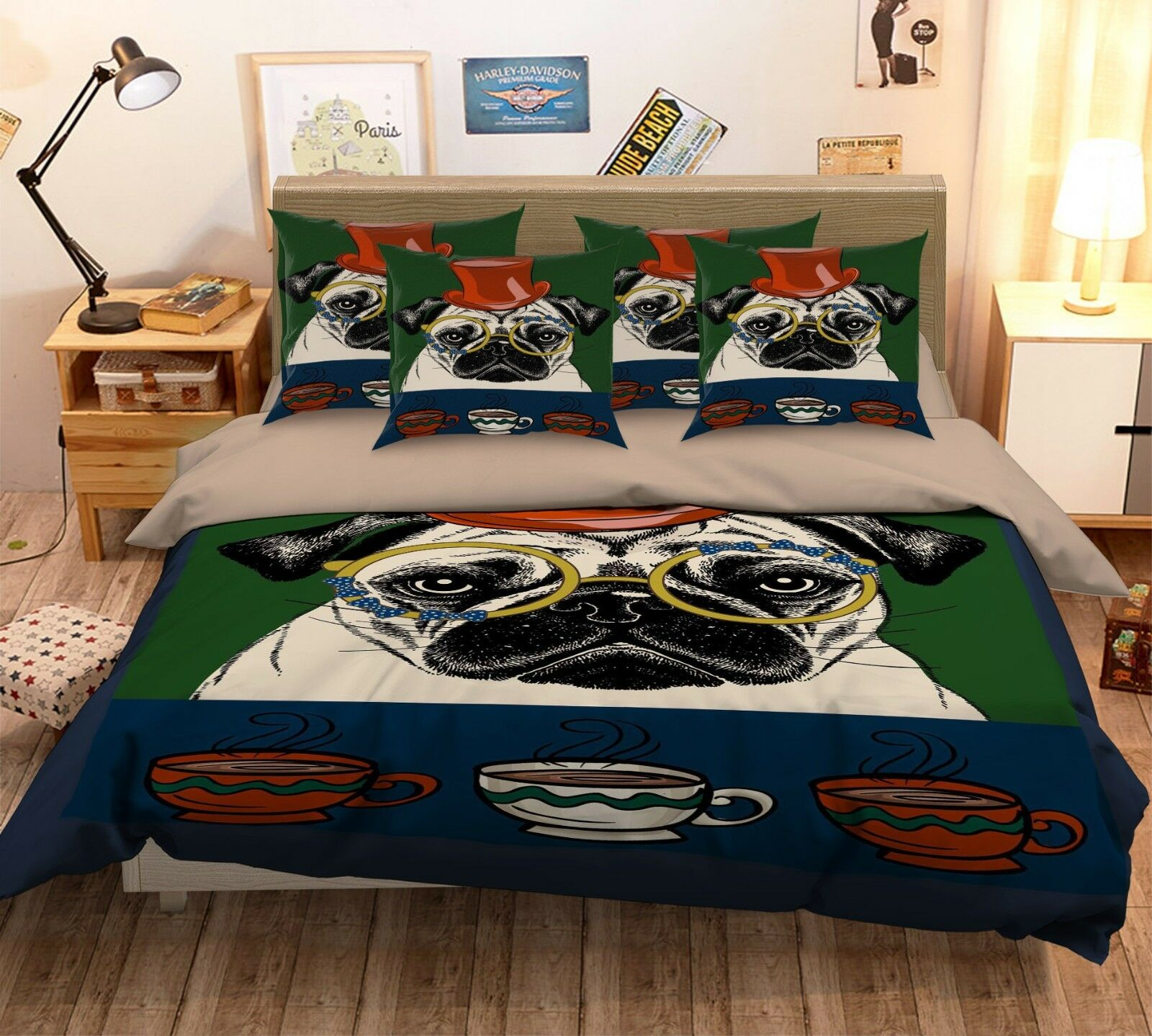3D Hund Coffee 4 Bett Pillowcases Quilt Duvet Startseite Set Single Königin König AU Carly
