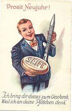 Neujahr, Mann mit Seife und Nagelfeile, Scherz-AK ?, um 1930