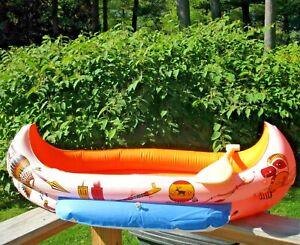 VINTAGE-IDEAL-1970-INFLATABLE-TOY-47-034-INDIAN-CANOE-amp-PLASTIC-OAR