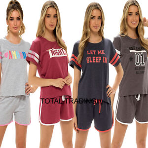 womens ladies pyjamas pajamas shorts sets t shirt top & hot pants bottoms  VARSI