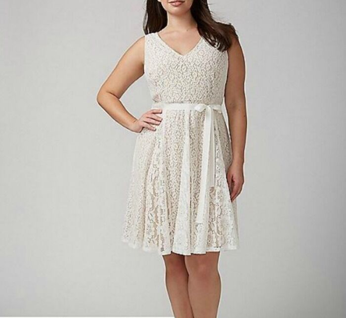 New LANE BRYANT  90 Sleeveless Ivory Lace Fit & Flare Dress w  Belt Plus 28W