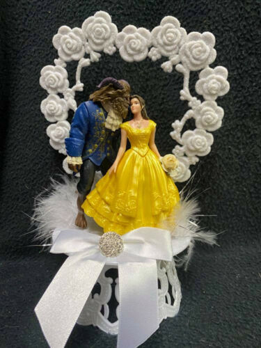 Beauty and the Beast Disney Wedding Cake Topper Belle Groom Top Yellow dress