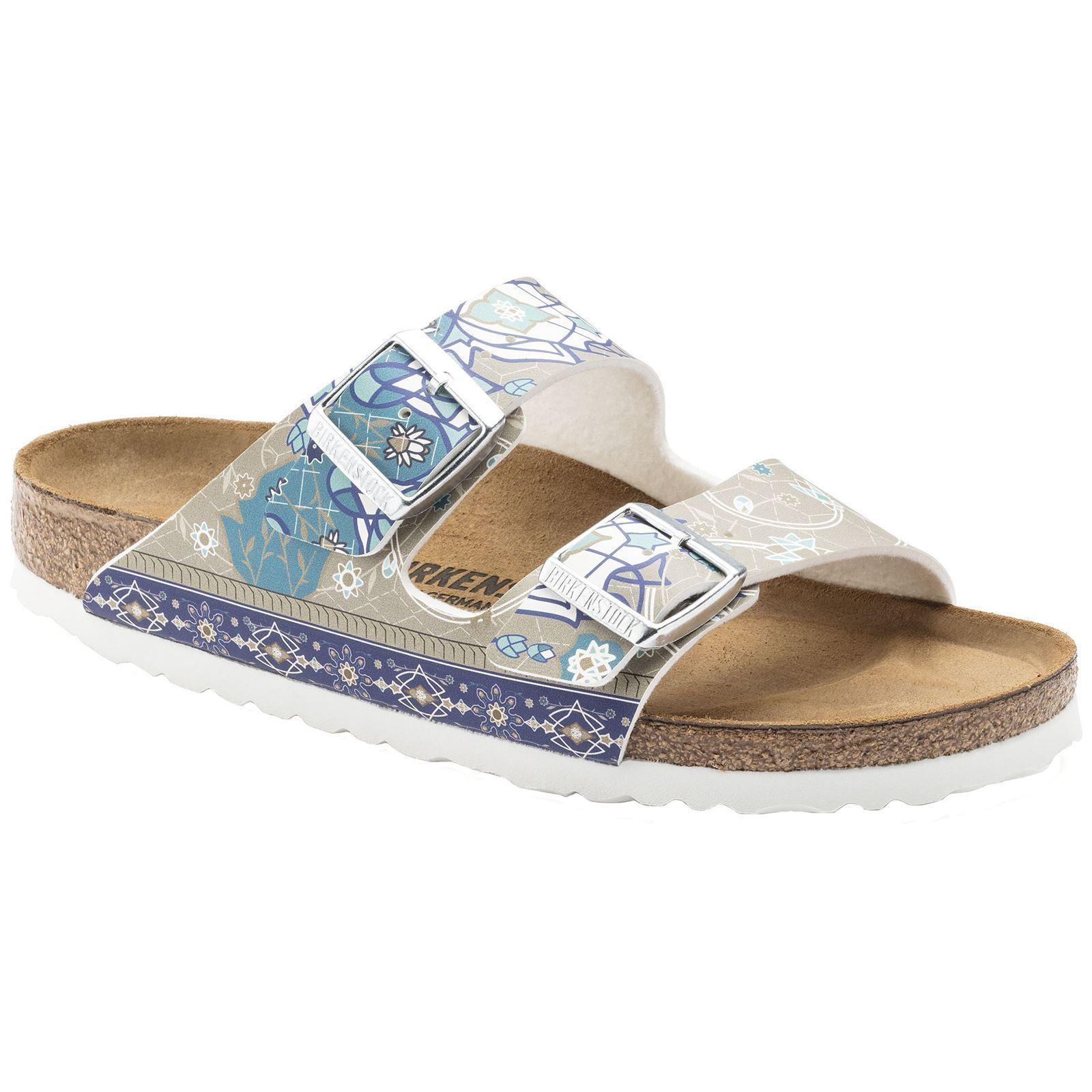 Último gran descuento Birkenstock Arizona Ancient Mosaic Taupe Womens Birko-Flor Slide Sandals