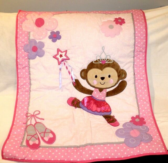 Brand New Carters Child Of Mine Baby Pink Ballerina Monkey Crib Bumper Pad Set