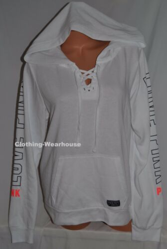 Victoria/'s Secret Pink Lace up Perfect Pullover Hoodie White Black Sweatshirt S