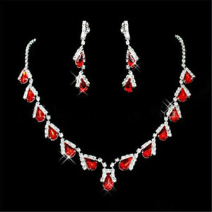 Xmas-Gift-TearDrop-Red-Ruby-Austrian-Crystal-Elements-Earrings-Necklace-Sets