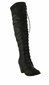 Forever-Women-039-s-Camila-48-Chunky-Heel-Lace-Up-Over-The-Knee-High-Riding-Boots