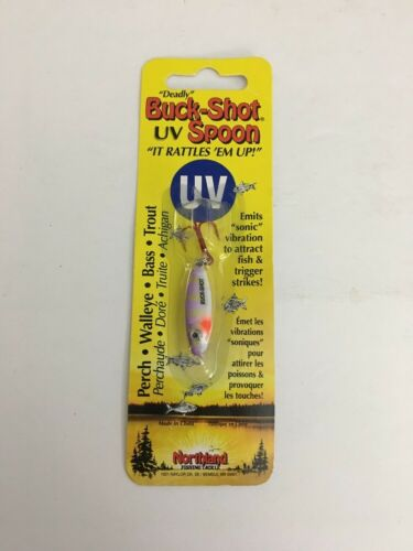 Northland Tackle BRUVS3-46 UV Buck Shot Rattle Spoon Purple Tiger 1//8 oz Lure