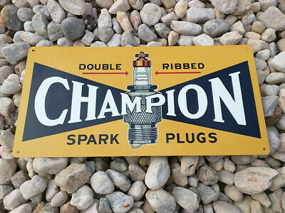 "Champion Spark Plug Metal Sign Advertising Repro Garage Shop 6x12/"" 60196"