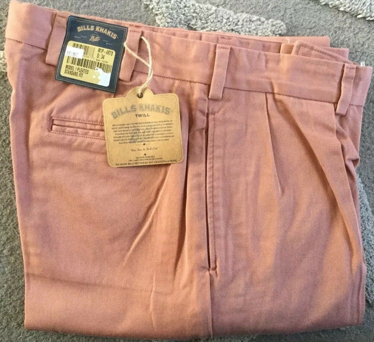 BRAND NEW-Bills Khakis M1P-ARTB Pleated Heavy Cotton SZ  35 Salmon MSRP