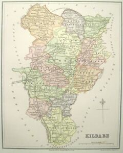 Map Of Ireland Midlands.Details About Irish Map County Kildare Curragh Ireland Midlands Baronies Thomas Kelly 1882