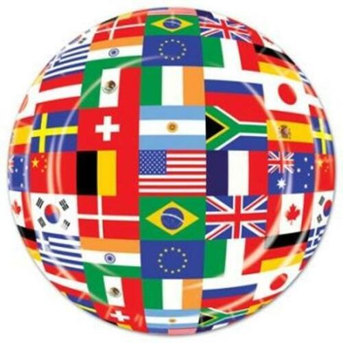 International Flags 7 Inch Paper Plates 8 Pack Olympics Travel Party Decoration