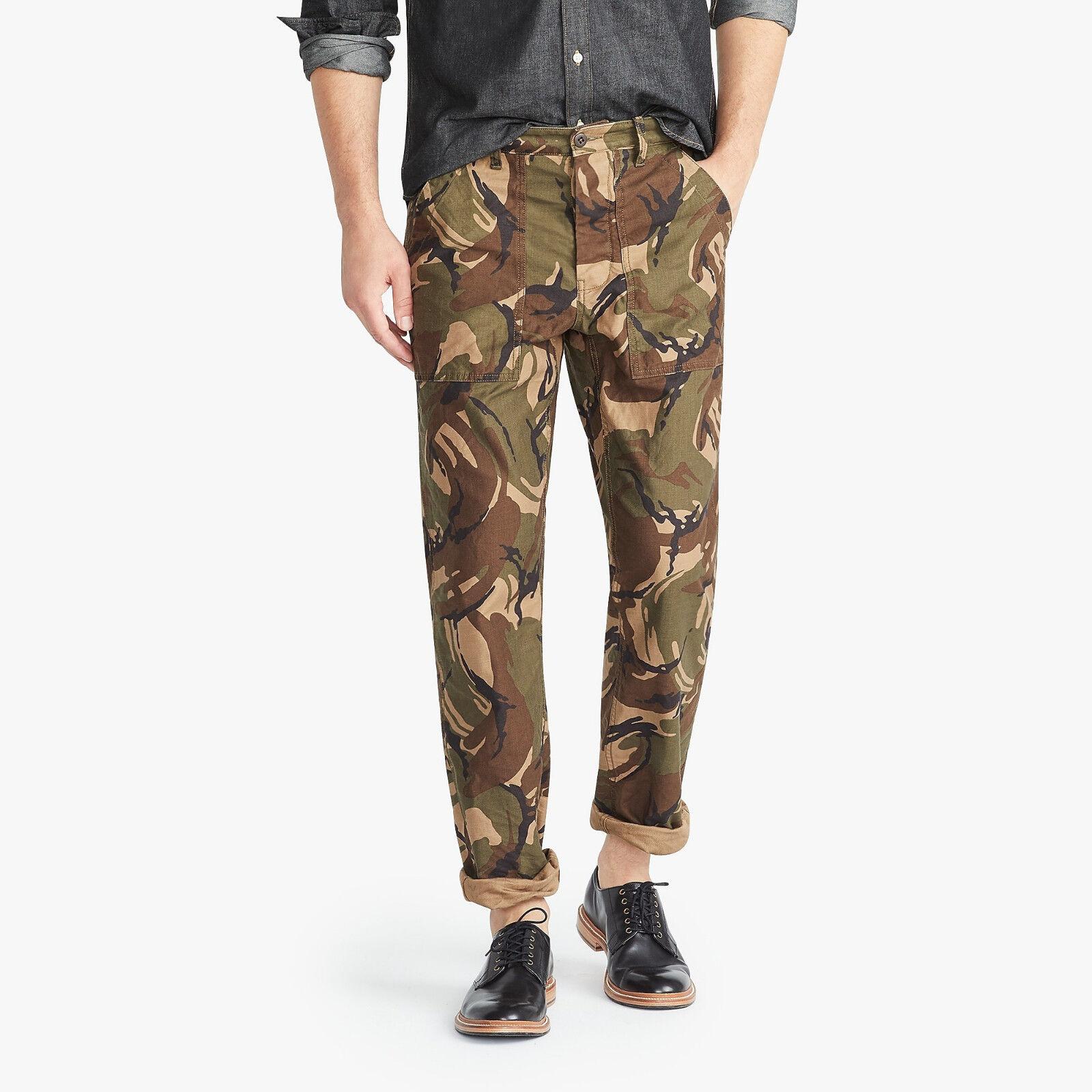 Wallace & Barnes J. Crew Men's Military Style Camo Camp Pants BRAND NEW 33x32