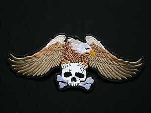Eagle-3-Colours-Skull-XL-Aigle-ecusson-brode-patche-Thermocollant-iron-o-patch