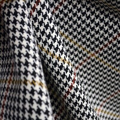 D2934 Pembrook Onyx Black White Houndstooth Plaid Fabric