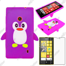 Coque Housse Etui Silicone Souple Motif Pingouin Violet Nokia Lumia 520 + Verre