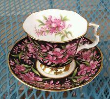 Royal Albert Black & Pink Provincial Flowers Fireweed Cup & Saucer 1975