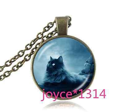 Vintage Black Cat Cabochon bronze Glass Chain Pendant Necklace #899