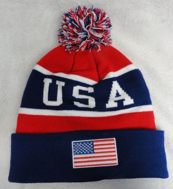 13aacfe27e0 Navy red USA American Flag W Republic Apparel Legend Beanie for sale ...