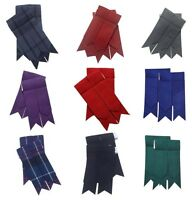 NEW Men's Kilt Hose Sock Flashes With Garter Various Tartans Pointed Highland