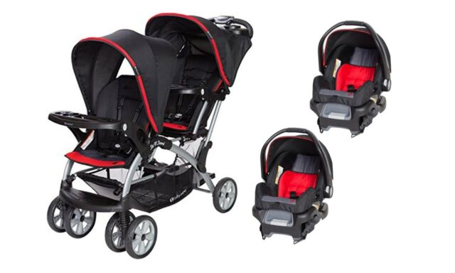 Stupendous Baby Double Stroller With Car Seat Twins Sit N Stand Travel System Set Machost Co Dining Chair Design Ideas Machostcouk