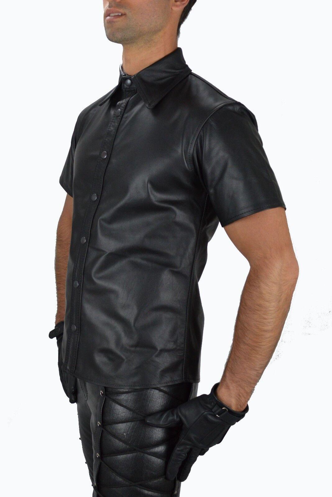 Awanstar Hochwertige Lederhemd,Chemise Cuir,Napa Leder Hemd,Leather shirt  S-3XL