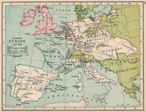 Map Of France And England.Details About Western Europe May 1702 England Allies Red France Blue 1907 Old Map