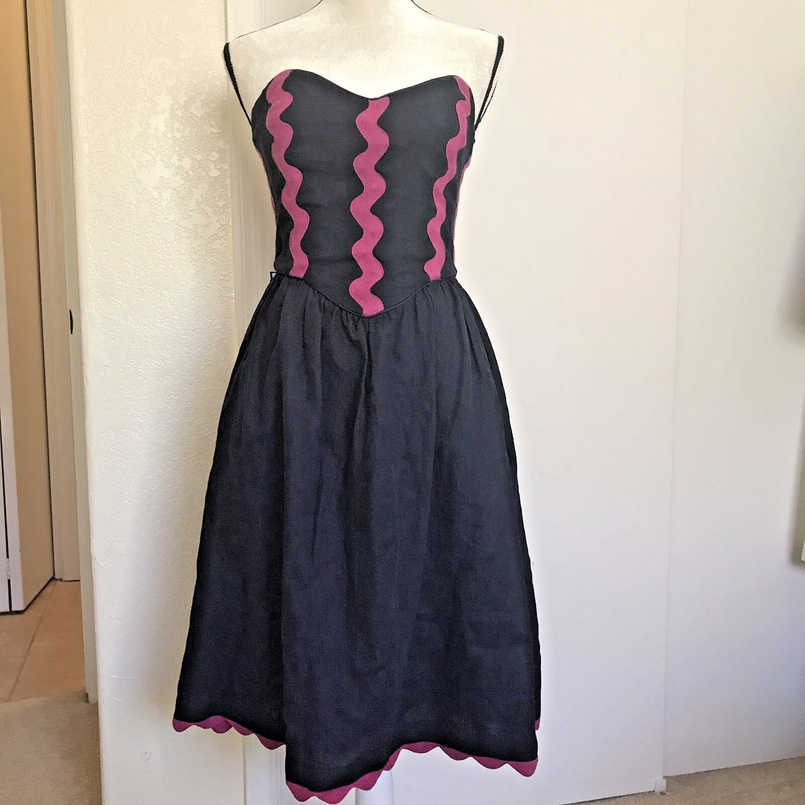 NWT BETSEY JOHNSON Navy Blau Linen Dress Rosa Trim Sz 6 Strapless Fit & Flare