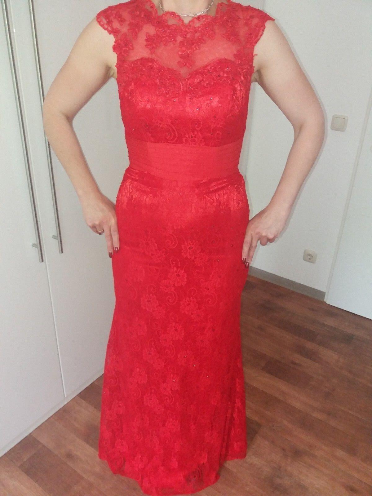 Spitzen Kleid -Maxi Kleid Abendkleid Langes Kleid in ROT Gr.38