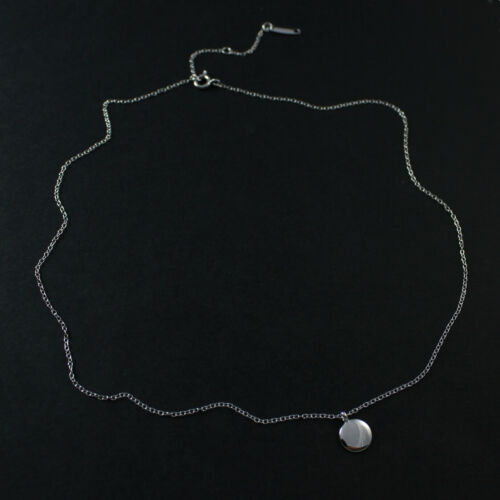 GENUINE 925 Sterling Silver Polished Finish Plain Disc Delicate Necklace UK New