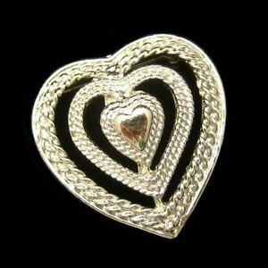 GERRYS-Vintage-Triple-Heart-Sweetheart-Brooch-Pin-Pendant-Open-Textured