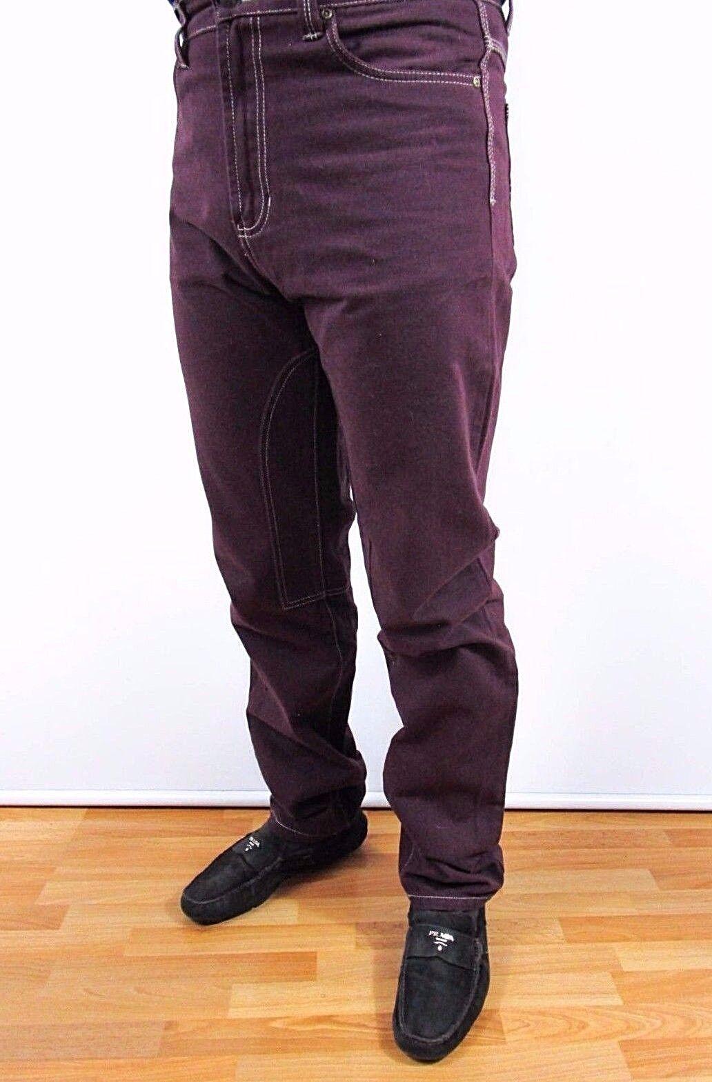Men's Italian Designer Wine Casual Vtg 90s Cotton Pants Trousers sz W33 BI38