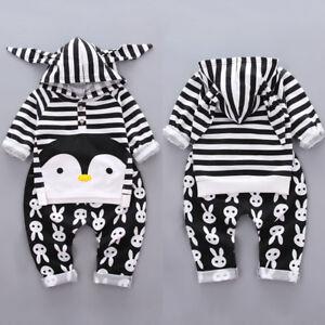 Newborn Kid Baby Boy Girl Infant Striped Penguin Clothes 2pcs