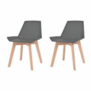 Sedia Da Cucina Plastica.Vidaxl 2x Sedie Da Pranzo Sedile In Plastica Grigio Gambe Legno