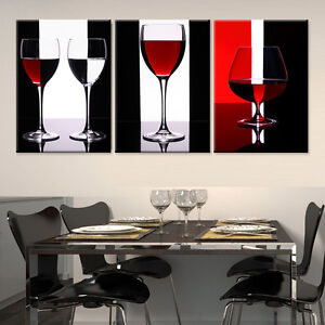 Wine Glass Ready To Hang 3 Piece Mdf Mounted Wall Art