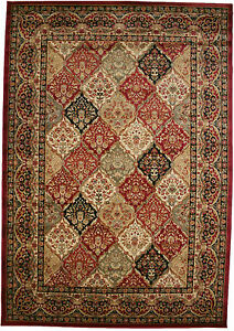 8x10 Area Rug Modern Transitional Contemporary Border Panel Red Gold