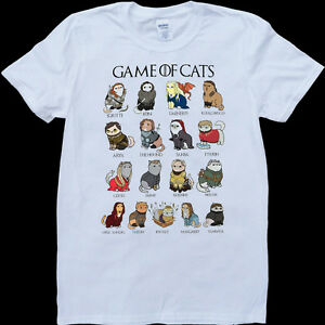 e3585abf4d Game of Thrones Cats Funny GOT Mens White, Custom Made T-Shirt | eBay