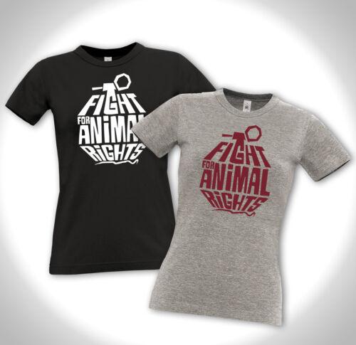 FIGHT FOR ANIMAL RIGHTS Girlie Shirt Tierschutz VEGAN Vegegarier Punk Peta