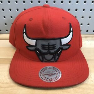 Chicago-Bulls-Logo-NBA-Basketball-Hat-Red-Mitchell-amp-Ness-Snap-Back-Cap