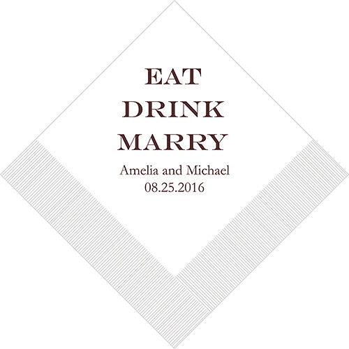 300 Eat Drink Marry Printed Wedding Luncheon Napkins