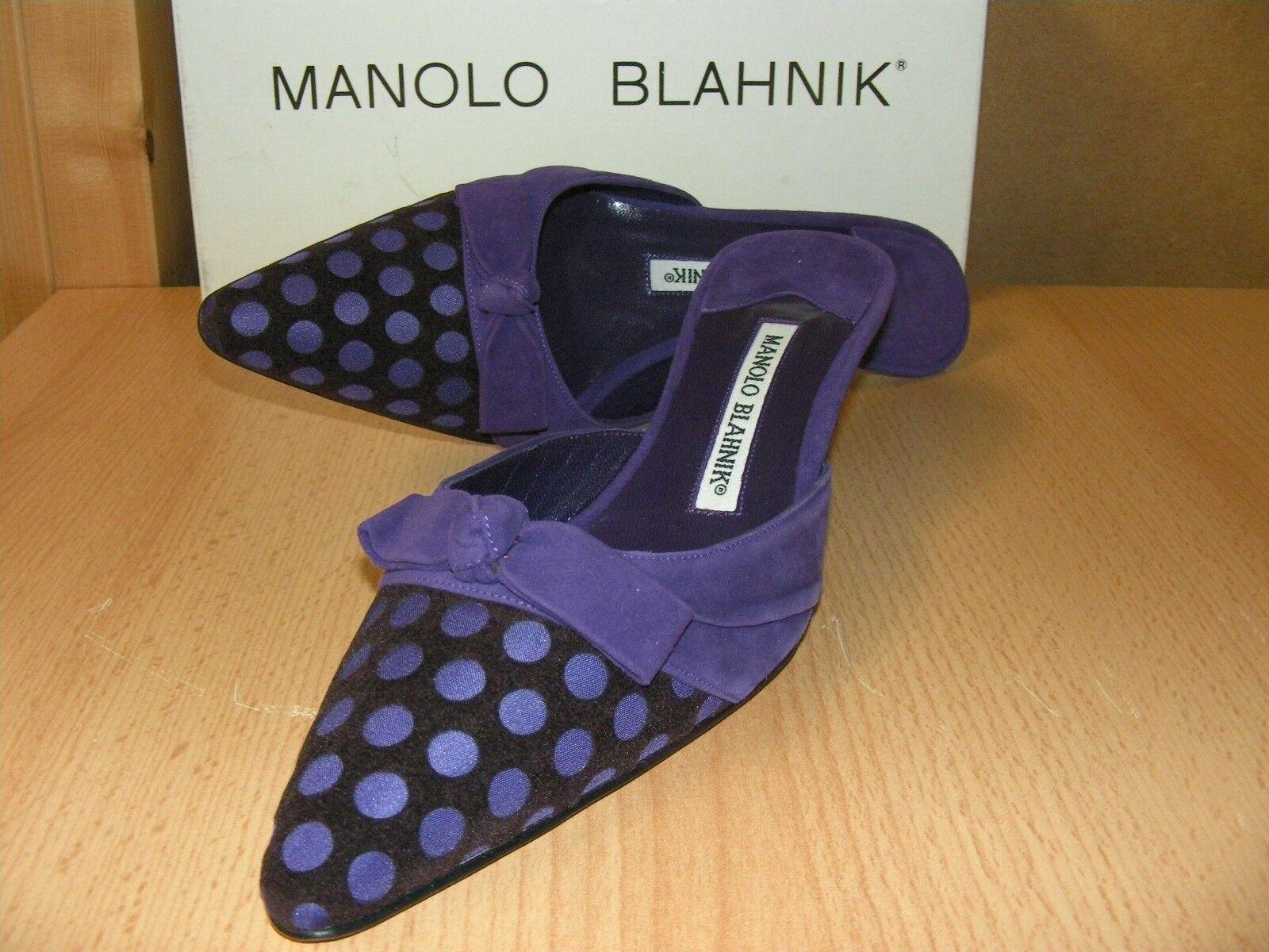 Pumps Manolo Blahnik Gr. 39,5 Modell Cnialo lila lila Polka Dots NEU mit Box