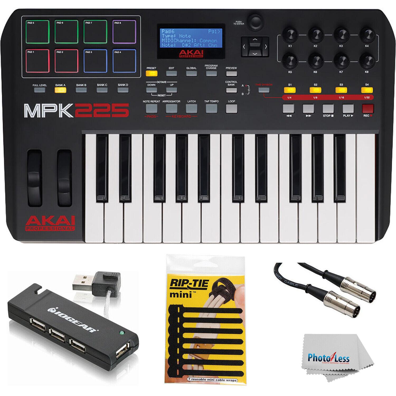 Akai Professional MPK225 25-Key Controller USB Hub MIDI Kabel && Kabel Ties