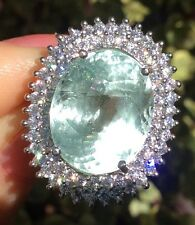 12.90ct Natural Earth Mined Neon Aquamarine gem Sterling Silver ring 5