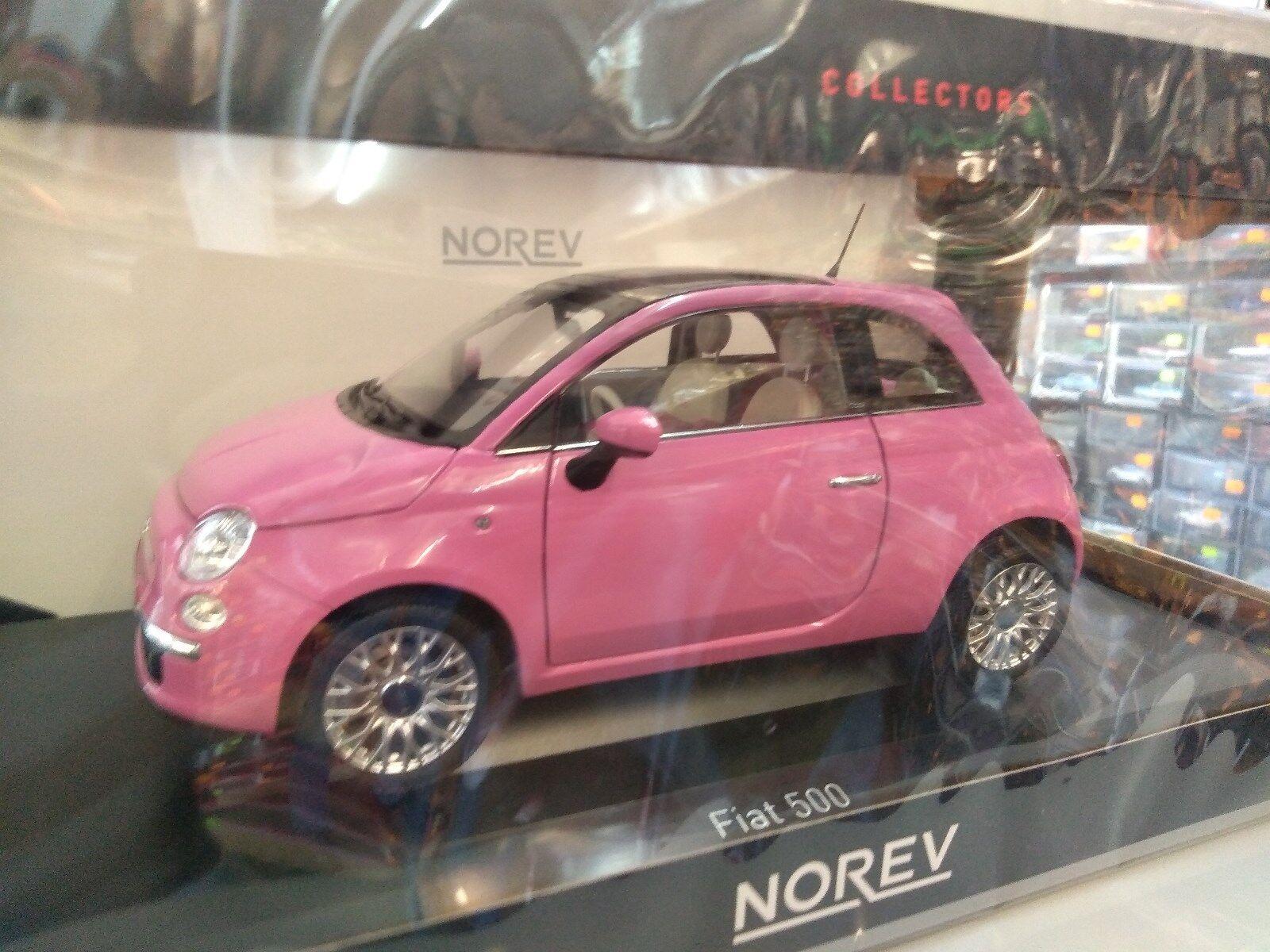 Miniature 1 18 Norev Fiat 500 rose 2010