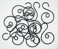 Ago Miniature Small Christmas Tree Scroll Wire Ornament Hook 1.25 12pcs - Black