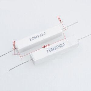 2Pcs-Wirewound-Ceramic-Cement-Resistor-0-1-10K-Ohm-10W-Watt-5
