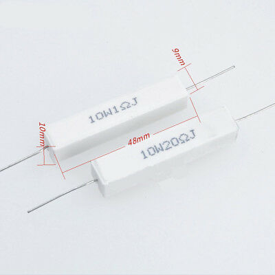 Free postage 100Kohm Wirewound Cement Resistor Ceramic 10W horizontal 0.1ohm