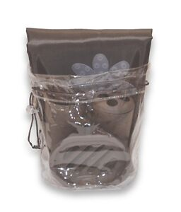 Bath-in-a-Bag-Accessory-Set-Fabric-Shower-Curtain-Liner-Rings-Brown
