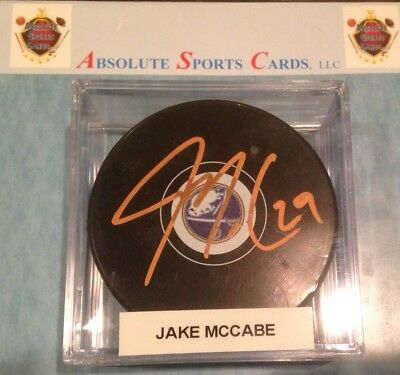 Sports Mem, Cards & Fan Shop Honest Jake Mccabe Buffalo Sabres Official Team Autographed Puck W/case Copper Auto 2 Pucks