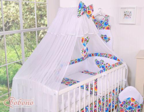 Ausverkauf Bobono traumhaftes Baby Bettset Bettwäsche Herzchen Bunte Blumen 6Tlg